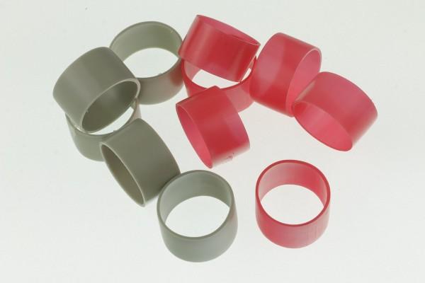 Hauptbündelringe Größe 25 aus Kunststoff - Gruppenringe 25,0x27,0x15mm in grau oder rot
