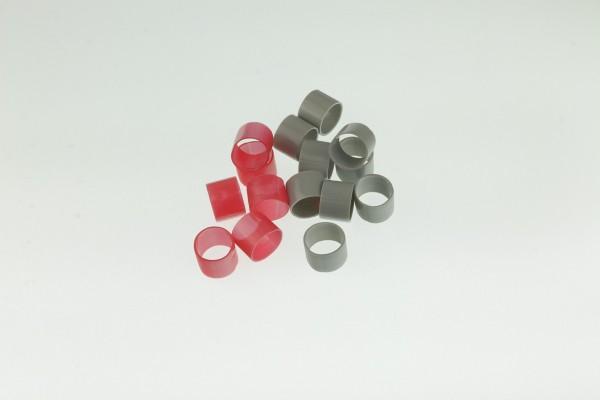 Hauptbündelringe Größe 13 aus Kunststoff - Gruppenringe 13,0x14,6x15mm in grau oder rot