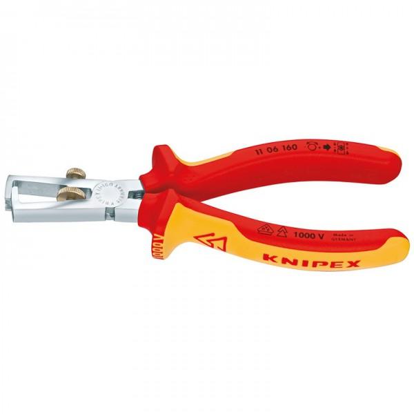 Knipex VDE Abisolierzange mit Öffnungsfeder und Rändelschraube universal - 11 06 160